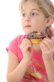 Doughnut dilema. Isolated on white stock photos