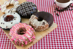 Doughnut or Donut and Coffee Background Stock Photography