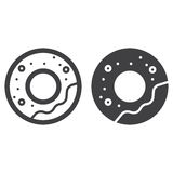 Doughnut or donut line and solid icon Stock Photo
