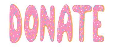 Doughnut en het woord van de beeldverhaal SCHENKEN de vectorillustratie Hand getrokken smakelijke zoete banner vector illustratie