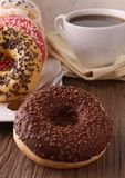 Doughnut en koffie Stock Afbeelding