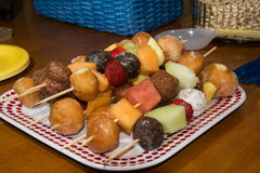 Doughnut and fruit Shish Kabobs Stock Images