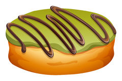 Doughnut with green and chocolate frosting Royalty Free Stock Photography