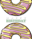 Doughnut greeting card. Royalty Free Stock Photography