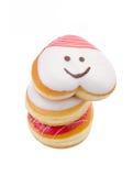 Doughnut, Hart Gevormd Gebakje op achtergrond royalty-vrije stock fotografie