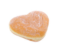 Doughnut, Hart Gevormd Gebakje op achtergrond stock foto's