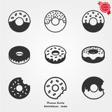 Doughnut icons. Doughnut with frosting sprinkles line art icon for food apps and websites royalty free illustration