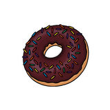 Doughnut illustration. Donuts illustration; Chocolate glazed doughnut with sprinkles Royalty Free Stock Photos