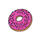 Doughnut illustration. Donuts illustration; Pink frosted doughnut with sprinkles Stock Photography