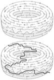 Doughnut maze. For kids with a solution in black and white royalty free illustration