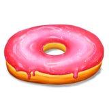 Doughnut met roze glans Stock Afbeelding