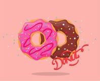 Doughnut met roze glans en chocolade royalty-vrije illustratie
