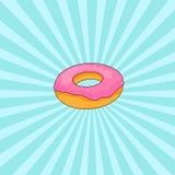 Doughnut met roze suikerglazuur Stock Fotografie