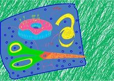 Doughnut needle case and scissors Stock Photography