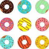 Doughnut op een witte achtergrond wordt geïsoleerd die royalty-vrije illustratie