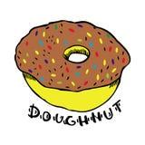 Doughnut op een witte vectorillustratie als achtergrond Stock Foto's
