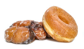Doughnut Pastries. A classic doughnut and twist isolated on white Royalty Free Stock Photography