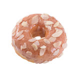 Doughnut in the petals of almond and icing. Almond donut in and icing isolated on white background Stock Photo