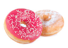 Doughnut in pink glazed Royalty Free Stock Images