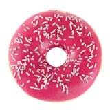 Doughnut in pink glazed. Isolated on white stock image