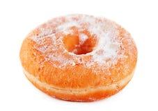 Doughnut powdered sugar. Isolated on white royalty free stock image
