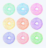 Doughnut set, watercolor. Doughnut set. Hand drawn colourful glazed donut. Real watercolor illustration royalty free illustration