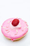 Doughnut with Strawberry on top Royalty Free Stock Photography