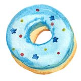 Doughnut Watercolor με το μπλε πάγωμα που απομονώνεται στο άσπρο υπόβαθρο απεικόνιση αποθεμάτων