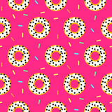 Doughnut white on pink sweet seamless pattern. Doughnut white on pink sweet seamless vector pattern donuts with coconut chips royalty free illustration