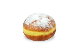 Doughnut on white. Single doughnut sprinkled with powdered sugar, isolated on white background stock photography