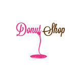 Doughnut Winkel Verglaasd Logo Design Background Stock Afbeeldingen