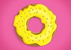 Doughnut. With yellow frosting and hundreds and thousands sitting on a pink background royalty free illustration