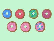 Doughnutinzameling zoet suikersuikerglazuur donuts patroon geschikt voor affiches vector illustratie