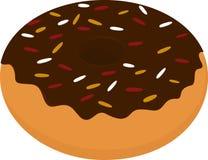 Doughnutpictogram, zoete die snack op wit wordt geïsoleerd Stock Afbeelding