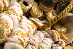 Doughnuts. Assortment of Doughnuts with different toppings Stock Photography