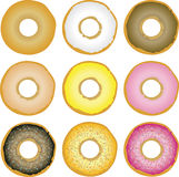 Doughnuts. Illustration of nine variations of doughnuts with different toppings Royalty Free Stock Photography