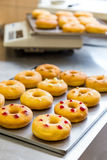 Doughnuts with assorted filling on metal tray Royalty Free Stock Photos
