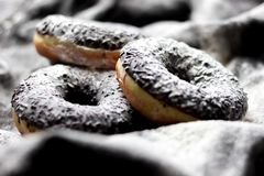 Doughnuts in chocolate glaze and powdered sugar. Black and white. Delicious Royalty Free Stock Photography