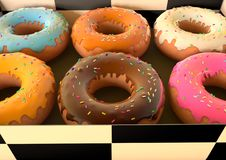 Doughnuts in een doos stock illustratie