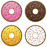 Doughnuts EPS. A set of four doughnuts in different flavors. Also available in vector EPS format Royalty Free Stock Photos
