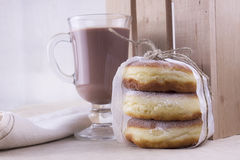 Doughnuts with glass of cacao Stock Photo