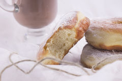 Doughnuts with glass of cacao Stock Photos