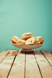 Doughnuts with icing sugar for Hanukkah holiday celebration royalty free stock photo