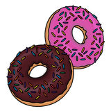 Doughnuts illustration. Donuts illustration; Chocolate glazed doughnut with sprinkles and pink frosted sprinkled doughnut Stock Photo