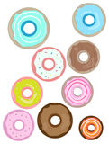 Doughnuts illustration isolated on white background. Colorful Doughnuts illustration. Different flavors. Pink, blue, brown, red Stock Photo