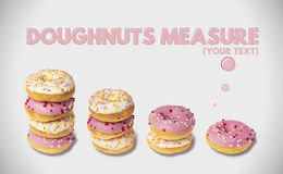 Doughnuts measure set. Illustration for your text Stock Images