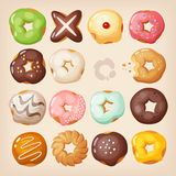 Doughnuts set. Set of colorful delicious doughnuts of different kinds in a box Stock Photos