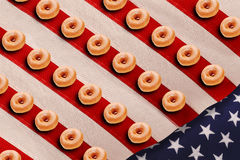 Doughnuts on US flag Stock Photo