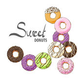 Doughnuts of various tastes and topping Stock Photography
