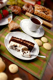 Doughs and cakes. Photoes of cakes and sweetnesses on the Christmas-eve-table Stock Photo